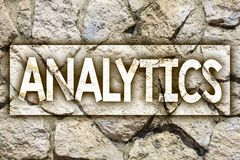 Writing note showing Analytics. Business photo showcasing Data Analysis Financial Information Statistics Report Dashboard Ideas m. Essage stone stones rock rocks royalty free stock image