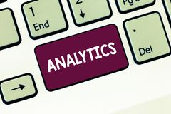 Writing note showing Analytics. Business photo showcasing systematic computational analysis of data statistics or infos. Keyboard Intention to create computer royalty free stock image