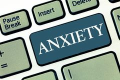 Writing note showing Anxiety. Business photo showcasing Excessive uneasiness and apprehension Panic attack syndrome.  royalty free stock photos
