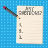 Writing note showing Any Questions Question. Business photo showcasing you say write order to ask demonstrating about. Writing note showing Any Questions vector illustration