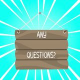 Writing note showing Any Questions Question. Business photo showcasing you say write order to ask demonstrating about. Writing note showing Any Questions stock illustration