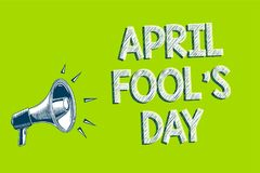 Writing note showing April Fool s is Day. Business photo showcasing Practical jokes humor pranks Celebration funny foolish Artwork. Convey message speaker alarm Stock Illustration