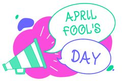 Writing note showing April Fool s is Day. Business photo showcasing Practical jokes humor pranks Celebration funny stock illustration