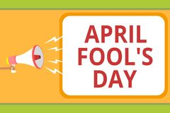 Writing note showing April Fool s is Day. Business photo showcasing Practical jokes humor pranks Celebration funny foolish Message. Idea invention boxed script royalty free illustration