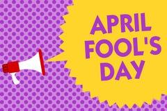 Writing note showing April Fool s is Day. Business photo showcasing Practical jokes humor pranks Celebration funny foolish Multili. Ne text purple bubble pattern vector illustration