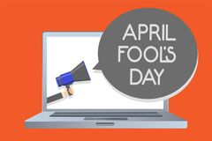 Writing note showing April Fool s is Day. Business photo showcasing Practical jokes humor pranks Celebration funny foolish Network. Message social media issue royalty free illustration