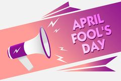 Writing note showing April Fool s is Day. Business photo showcasing Practical jokes humor pranks Celebration funny foolish Sound s. Peaker convey messages ideas Royalty Free Illustration