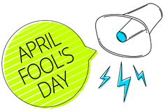 Writing note showing April Fool s is Day. Business photo showcasing Practical jokes humor pranks Celebration funny foolish Three l. Ines text messages alarm stock illustration
