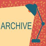 Writing note showing Archive. Business photo showcasing Collection Historical documents Records providing information stock illustration