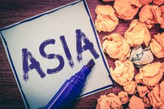 Writing note showing Asia. Business photo showcasing Largest and populous continent Eastern and northern hemisphere.  stock photography