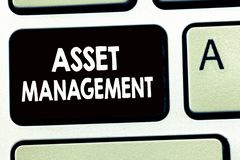 Writing note showing Asset Management. Business photo showcasing systematic process of operating and disposing of assets.  royalty free stock photography