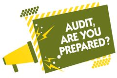 Writing note showing Audit, Are You Prepared question. Business photo showcasing asking if he is ready to do something Megaphone l. Oudspeaker yellow striped Royalty Free Stock Images