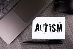 Writing note showing  Autism. Business photo showcasing Autism Awareness conducted by social committee around the globe written on. Writing note showing  Autism Stock Photography