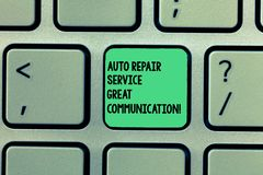 Writing note showing Auto Repair Service Great Communication. Business photo showcasing Car mechanic technician royalty free stock images