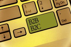 Writing note showing B2B B2C. Business photo showcasing two types for sending emails to other people Outlook accounts Keyboard gre. En key Intention computer royalty free stock photos
