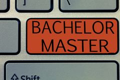 Writing note showing Bachelor Master. Business photo showcasing An advanced degree completed after bachelor's degree royalty free stock photo