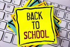 Writing note showing  Back To School. Business photo showcasing Right time to purchase schoolbag, pen, book, stationary written on. Writing note showing  Back To Stock Image