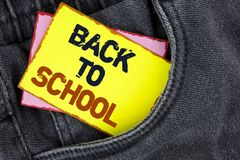 Writing note showing  Back To School. Business photo showcasing Right time to purchase schoolbag, pen, book, stationary written on. Writing note showing  Back To Stock Images
