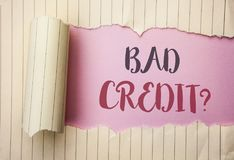 Writing note showing Bad Credit Question. Business photo showcasing Low Credit Finance Economic Budget Asking Questionaire writte. N the pink background behind royalty free stock images