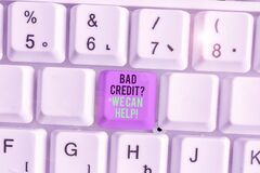 Writing note showing Bad Credit question We Can Help. Business photo showcasing Borrower with high risk Debts Financial.