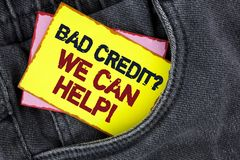 Writing note showing  Bad Credit Question We Can Help Motivational Call. Business photo showcasing achieve good debt health writte. N Yellow Sticky Note Paper Stock Images