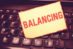 Writing note showing Balancing. Business photo showcasing put something in a steady position so that it does not fall. Blank Bordered Notepad Reminding Inserted stock photography