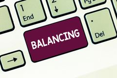 Writing note showing Balancing. Business photo showcasing put something in a steady position so that it does not fall. Keyboard Intention to create computer stock photos