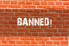 Writing note showing Banned. Business photo showcasing Ban steroids, No excuse for building Muscles. Brick Wall art like. Writing note showing Banned. Business royalty free stock photo