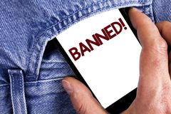 Writing note showing Banned Motivational Call. Business photo showcasing Ban on use of steroids, No excuse for building Muscles. Written Mobile phone screen royalty free stock photography