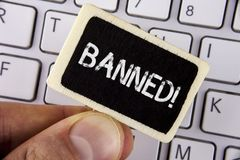 Writing note showing Banned Motivational Call. Business photo showcasing Ban on use of steroids, No excuse for building Muscles. Written Wood Piece holding by royalty free stock photo