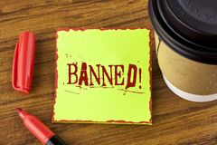 Writing note showing Banned Motivational Call. Business photo showcasing Ban on use of steroids, No excuse for building Muscles. Written Sticky Note Paper stock photography