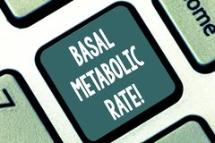 Writing note showing Basal Metabolic Rate. Business photo showcasing Minimum energy level require to sustain vital. Function Keyboard key Intention to create stock photos
