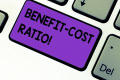 Writing note showing Benefit Cost Ratio. Business photo showcasing Relationship between the costs and benefits of project Keyboard. Key Intention to create stock photo