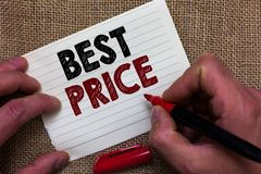 Writing note showing Best Price. Business photo showcasing Buyer or seller can obtain something for a product sold or buy Man's h stock images