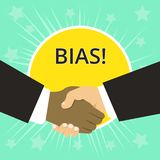 Writing note showing Bias. Business photo showcasing inclination or prejudice for or against one demonstrating group. Writing note showing Bias. Business royalty free illustration