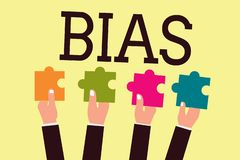 Writing note showing Bias. Business photo showcasing Prejudice in favor of and against one thing Considered to be Unfair.  stock illustration