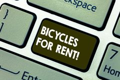 Writing note showing Bicycles For Rent. Business photo showcasing rents bikes for short periods of time usually few. Hours Keyboard key Intention to create stock illustration