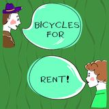 Writing note showing Bicycles For Rent. Business photo showcasing rents bikes for short periods of time usually few. Hours Hand Wo analysis Talking photo with vector illustration