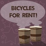 Writing note showing Bicycles For Rent. Business photo showcasing rents bikes for short periods of time usually few. Hours Two To Go Cup with Beverage and Steam royalty free illustration