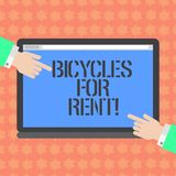Writing note showing Bicycles For Rent. Business photo showcasing rents bikes for short periods of time usually few. Hours Hu analysis Hands Pointing on a Blank stock illustration