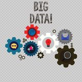Writing note showing Big Data. Business photo showcasing extremely large sets that may be analysed to reveal patterns royalty free illustration
