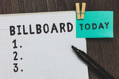 Writing note showing Billboard. Business photo showcasing large outdoor board for displaying advertisements hoarding. Open notebook page pins holding reminder royalty free stock image