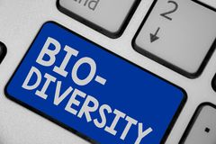 Writing note showing Bio Diversity. Business photo showcasing Variety of Life Organisms Marine Fauna Ecosystem Habitat Keyboard bl. Ue key Intention computer royalty free stock image