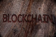 Writing note showing Blockchain. Business photo showcasing Register Log Financial Statement Digital Data Technology Record Wooden royalty free stock images