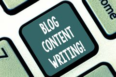 Writing note showing Blog Content Writing. Business photo showcasing online writing which is link to web marketing. Campaign Keyboard key Intention to create stock photo