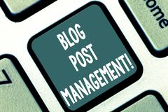Writing note showing Blog Post Management. Business photo showcasing Handling and running a short form marketing content. Keyboard key Intention to create vector illustration