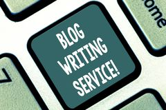 Writing note showing Blog Writing Service. Business photo showcasing Creates highquality blog content for a business. Keyboard key Intention to create computer royalty free stock photo