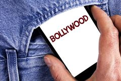 Writing note showing Bollywood. Business photo showcasing Indian cinema a source of entertainment written on Mobile phone screen h. Writing note showing stock images