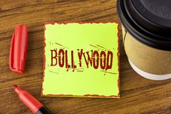 Writing note showing Bollywood. Business photo showcasing Indian cinema a source of entertainment written on Sticky Note Paper on. Writing note showing Bollywood Stock Photography