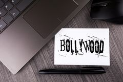 Writing note showing Bollywood. Business photo showcasing Indian cinema a source of entertainment written on Sticky Note Paper on. Writing note showing Bollywood Royalty Free Stock Photos